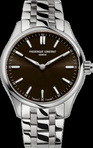 Smartwatch Frederique Constant Smartwatch Gents Vitality 42mm mit braunem Zifferblatt und Edelstahlarmband