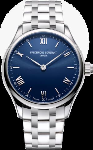 Smartwatch Frederique Constant Smartwatch Gents Vitality 42mm mit blauem Zifferblatt und Edelstahlarmband