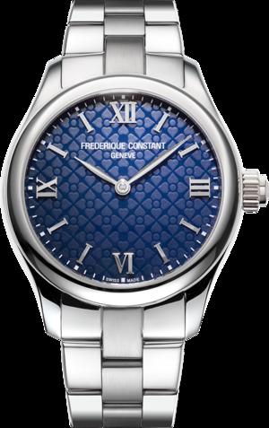 Smartwatch Frederique Constant Smartwatch Ladies Vitality 36mm mit blauem Zifferblatt und Edelstahlarmband