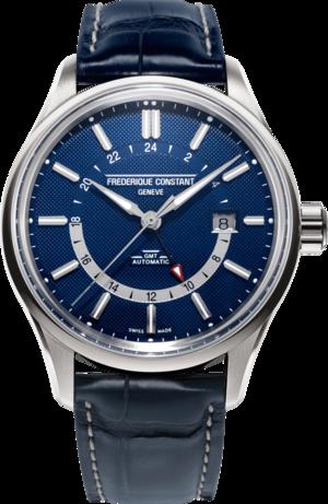 Herrenuhr Frederique Constant Yacht Timer GMT mit blauem Zifferblatt und Kalbsleder-Armband