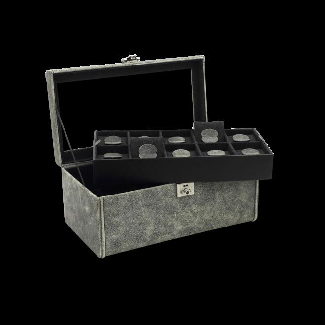 Friedrich Uhrenbox mit Sichtfenster Cubano 20 - Grau aus Kalbsleder bei Brogle