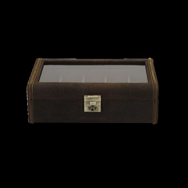 Friedrich Uhrenbox mit Sichtfenster Cubano XL - Braun aus Kalbsleder bei Brogle