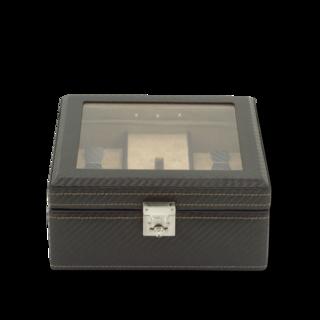 Friedrich Uhrenbox mit Sichtfenster LED Carbon - Dunkelbraun 70021-442