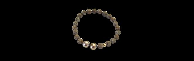 Armband Gellner Basic aus 750 Roségold mit 2 Tahiti-Perlen und 21 Obsidianen bei Brogle