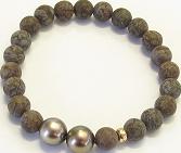 Armband Gellner Basic aus 750 Roségold mit 2 Tahiti-Perlen und 21 Obsidianen