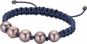 Armband Gellner Basic aus 925 Sterlingsilber und Nylon mit 5 Süßwasser-Perlen