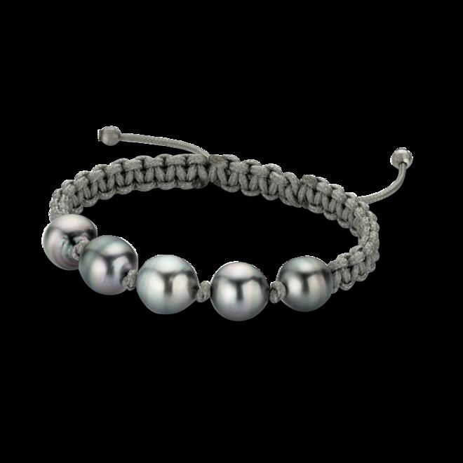 Armband Gellner Basic aus 925 Sterlingsilber und Nylon mit 5 Tahiti-Perlen bei Brogle