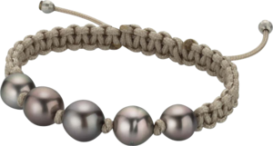 Armband Gellner Basic aus 925 Sterlingsilber und Nylon mit 5 Tahiti-Perlen