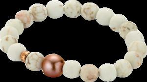 Armband Gellner Basic PS aus 750 Roségold mit Süßwasser-Perle und 20 Howlithen Größe 18 cm