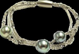 Armband Gellner Big Bang aus 925 Sterlingsilber und Edelstahl mit 3 Tahiti-Perlen und mehreren Edelsteinen