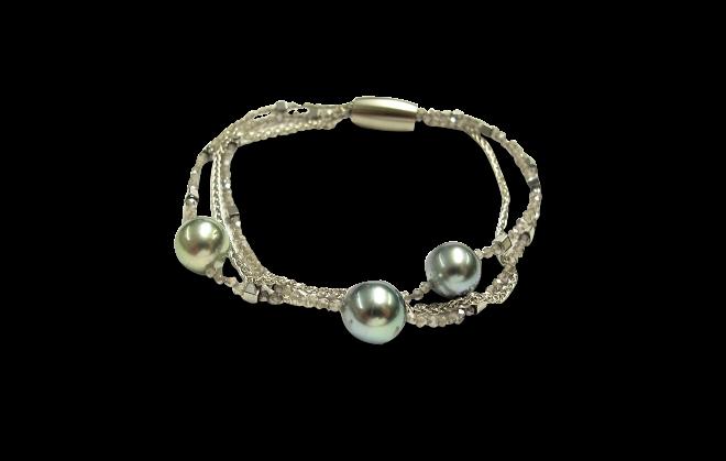 Armband Gellner Big Bang aus 925 Sterlingsilber und Edelstahl mit 3 Tahiti-Perlen und mehreren Edelsteinen bei Brogle