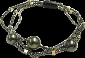 Armband mit Anhänger Gellner Big Bang aus 925 Sterlingsilber mit 3 Tahiti-Perlen und 16 Hämatiten