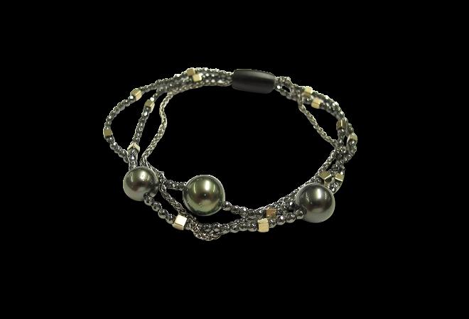 Armband mit Anhänger Gellner Big Bang aus 925 Sterlingsilber mit 3 Tahiti-Perlen und 16 Hämatiten bei Brogle