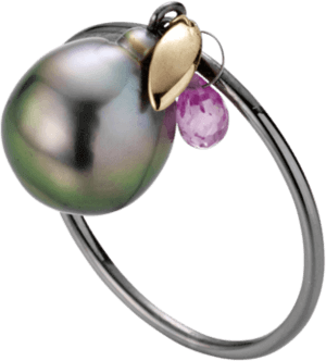 Ring Gellner Bolero aus 925 Sterlingsilber und 750 Roségold mit Tahiti-Perle und 1 Saphir