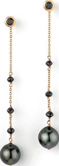 Ohrhänger Gellner Castaway aus 750 Gelbgold und 750 Roségold mit 2 Tahiti-Perlen und 3 Brillanten (2 x 0,552 Karat)