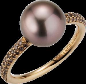 Ring Gellner Modern Classic aus 750 Roségold mit Tahiti-Perle und 70 Brillanten (0,504 Karat)
