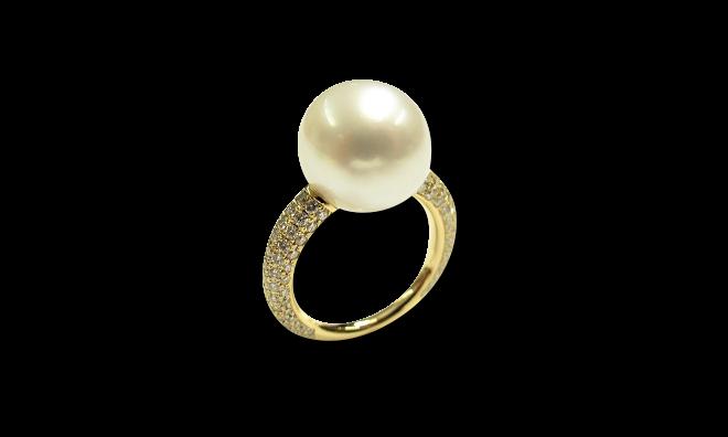 Ring Gellner Modern Classic aus 750 Gelbgold mit Südsee-Perle und 138 Brillanten (1,204 Karat) bei Brogle