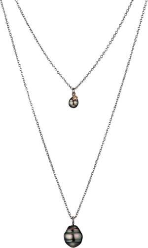 Halskette Gellner Basic PS aus 925 Sterlingsilber und 750 Roségold mit 2 Tahiti-Perlen und 1 Brillant (0,046 Karat)