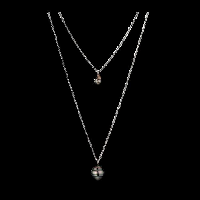Halskette Gellner Basic PS aus 925 Sterlingsilber und 750 Roségold mit 2 Tahiti-Perlen und 1 Brillant (0,046 Karat) bei Brogle