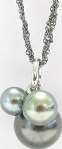 Halskette Gellner Melange aus 925 Sterlingsilber und 750 Weißgold mit 3 Tahiti-Perlen