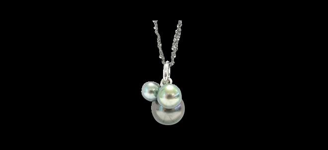 Halskette Gellner Melange aus 925 Sterlingsilber und 750 Weißgold mit 3 Tahiti-Perlen bei Brogle