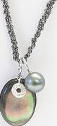Halskette Gellner Melange aus 925 Sterlingsilber und 750 Weißgold mit Tahiti-Perle und 11 Brillanten (0,055 Karat)