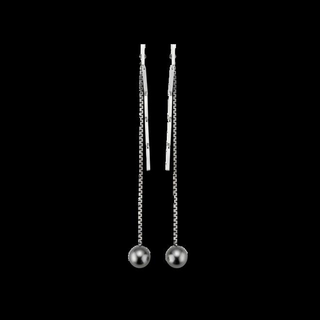 Ohrstecker Gellner Fuse aus weißes Silber und Silber mit 2 Tahiti-Perlen bei Brogle