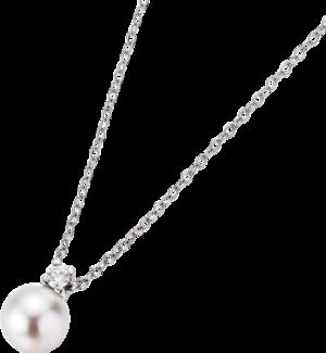 Halskette mit Anhänger Gellner H2O aus 750 Weißgold mit Akoya-Perle und 1 Brillant (0,08 Karat)