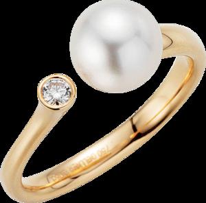 Ring Gellner H2O aus 750 Roségold mit Akoya-Perle und 1 Brillant (0,08 Karat)