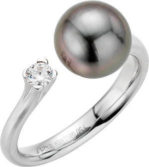 Ring Gellner H2O aus 750 Weißgold mit Tahiti-Perle und 1 Brillant (0,12 Karat)