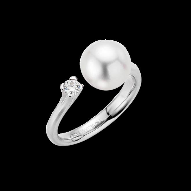 Ring Gellner H2O aus 750 Weißgold mit Südsee-Perle und 1 Brillant (0,12 Karat) bei Brogle