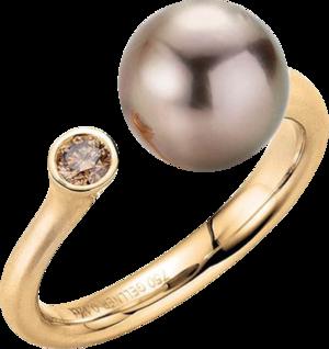 Ring Gellner H2O aus 750 Roségold mit Tahiti-Perle und 1 Brillant (0,12 Karat)