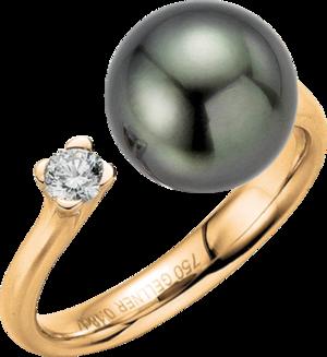Ring Gellner H2O aus 750 Roségold mit Tahiti-Perle und 1 Brillant (0,18 Karat)