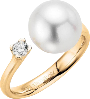 Ring Gellner H2O aus 750 Roségold mit Südsee-Perle und 1 Brillant (0,18 Karat)