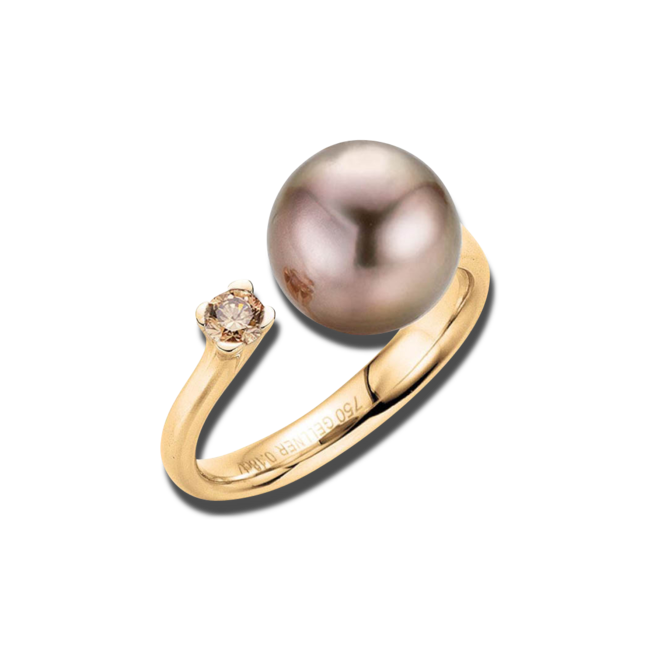 Ring Gellner H2O aus 750 Roségold mit Tahiti-Perle und 1 Brillant (0,18 Karat) bei Brogle