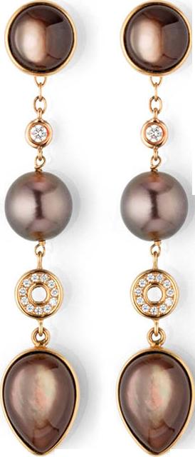 Ohrstecker Gellner Melange aus 750 Roségold, 750 Gelbgold und Perlmutt mit 2 Tahiti-Perlen und 24 Brillanten (2 x 0,1 Karat)