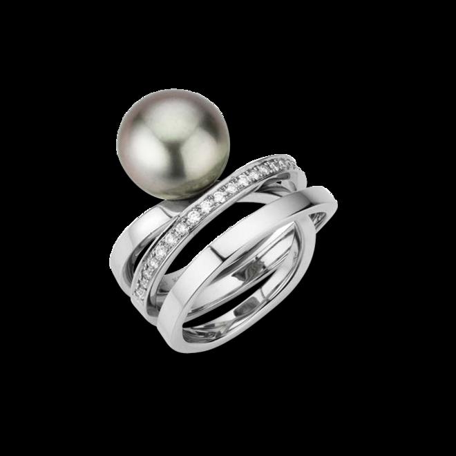 Ring Gellner Wave Essentials aus 950 Platin mit Tahiti-Perle und 25 Brillanten (0,375 Karat) bei Brogle