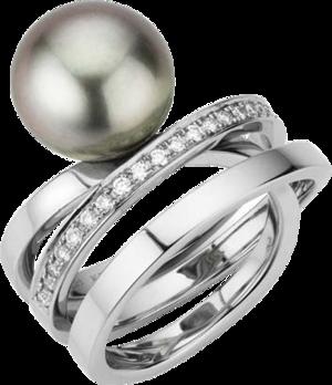 Ring Gellner Wave Essentials aus 950 Platin mit Tahiti-Perle und 25 Brillanten (0,375 Karat)