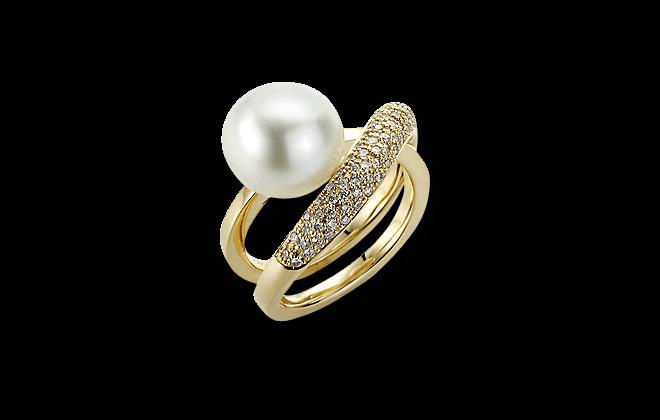 Ring Gellner Wave aus 750 Roségold mit Südsee-Perle und 85 Diamanten (0,42 Karat) bei Brogle