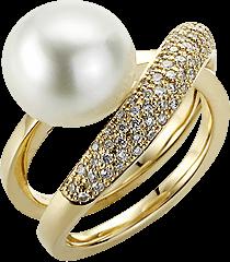 Ring Gellner Wave aus 750 Roségold mit Südsee-Perle und 85 Diamanten (0,42 Karat)