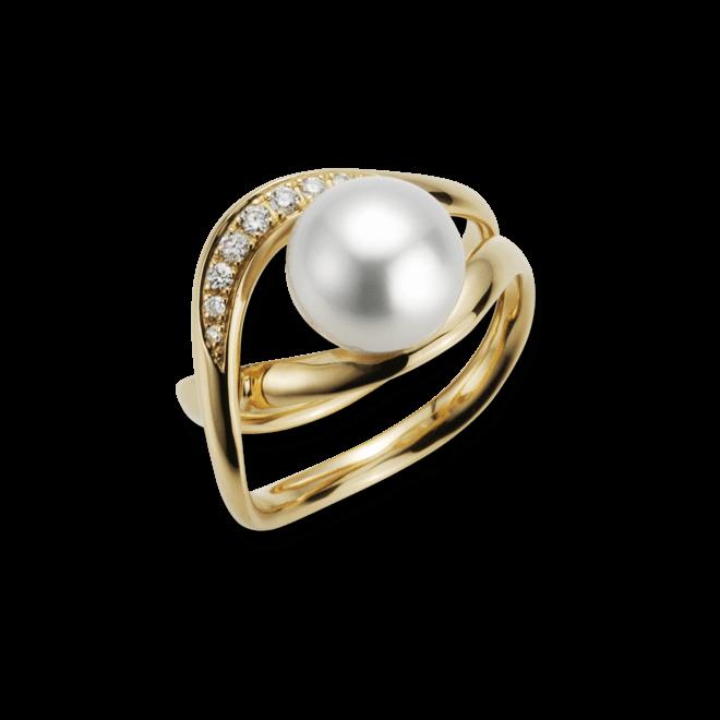 Ring Gellner Wave aus 750 Roségold mit Südsee-Perle und 9 Brillanten (0,116 Karat) bei Brogle