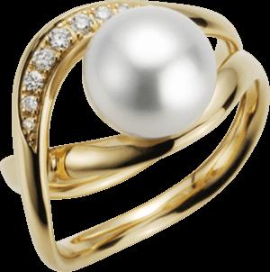 Ring Gellner Wave aus 750 Roségold mit Südsee-Perle und 9 Brillanten (0,116 Karat)