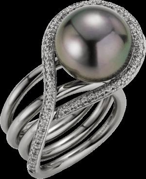 Ring Gellner Wave aus 750 Weißgold mit Tahiti-Perle und 106 Diamanten (0,53 Karat)