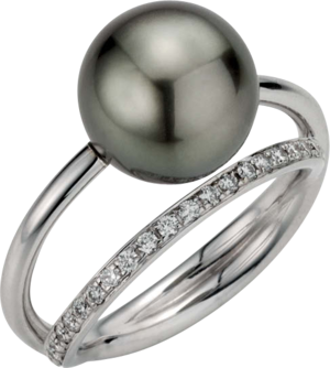 Ring Gellner Wave aus 750 Weißgold mit Tahiti-Perle und 20 Brillanten (0,2 Karat)