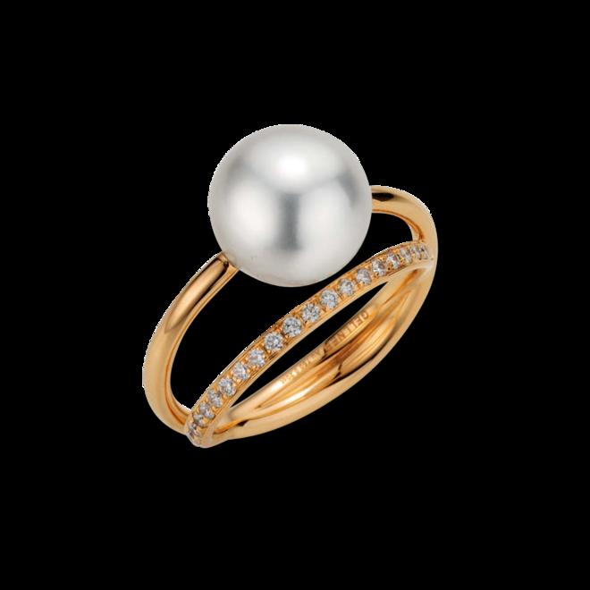 Ring Gellner Wave aus 750 Roségold mit Südsee-Perle und 20 Brillanten (0,2 Karat) bei Brogle