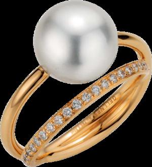 Ring Gellner Wave aus 750 Roségold mit Südsee-Perle und 20 Brillanten (0,2 Karat)