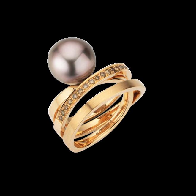 Ring Gellner Wave aus 750 Roségold mit Tahiti-Perle und 25 Brillanten (0,425 Karat) bei Brogle