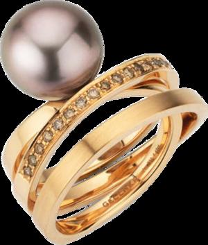 Ring Gellner Wave aus 750 Roségold mit Tahiti-Perle und 25 Brillanten (0,425 Karat)