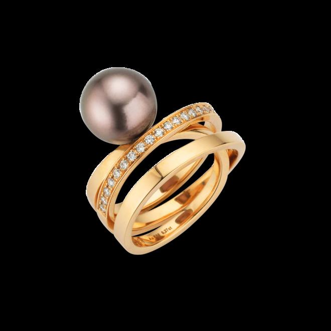 Ring Gellner Wave aus 750 Roségold mit Tahiti-Perle und 25 Brillanten (0,375 Karat) bei Brogle