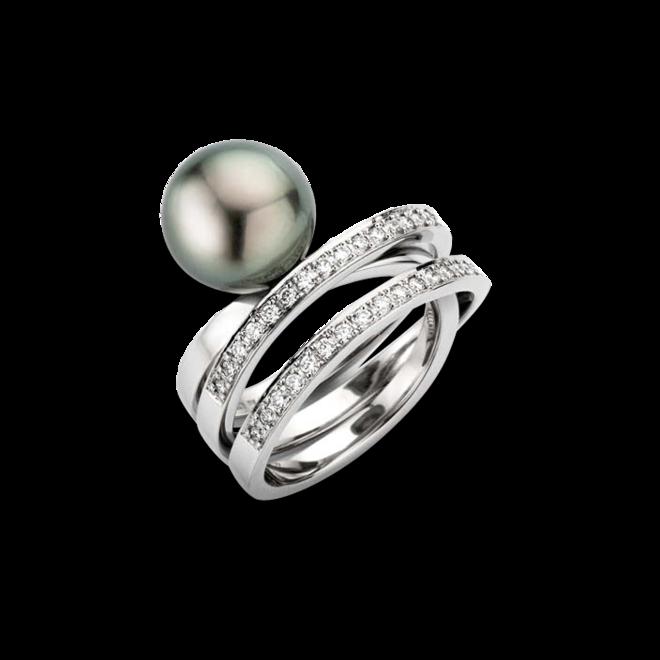 Ring Gellner Wave aus 950 Platin mit Tahiti-Perle und 50 Brillanten (0,75 Karat) bei Brogle